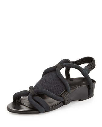 Marquise Piped Curved Flat Sandal, Anthracite/Black
