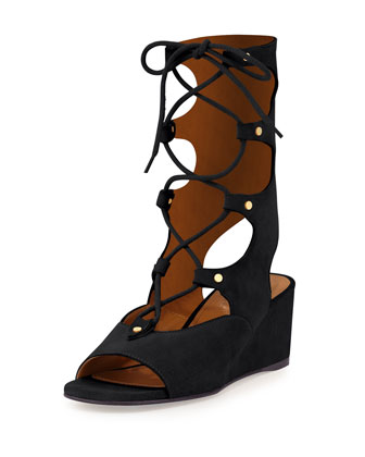 Suede Gladiator Wedge Sandal, Black