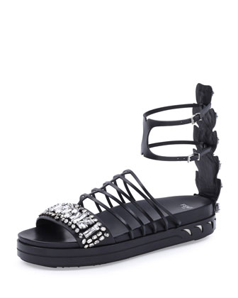 Crystal Leather Cage Sandal, Black