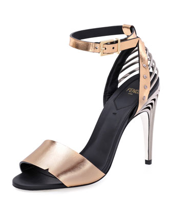 Metallic Ankle-Wrap Sandal, Gold Pink