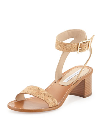 Cami Cork City Sandal, Natural Cork