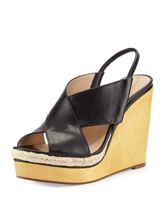 Gladys Leather Crisscross Wedge Sandal, Black
