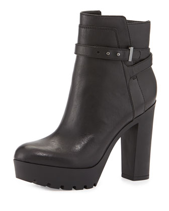 Emme Leather Tread-Sole Boot, Black