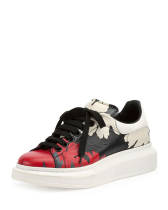 Leather Leaf-Pattern Low-Top Sneaker, Multi Colors