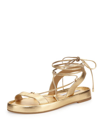 Susie Metallic Leather Sandal, Gold