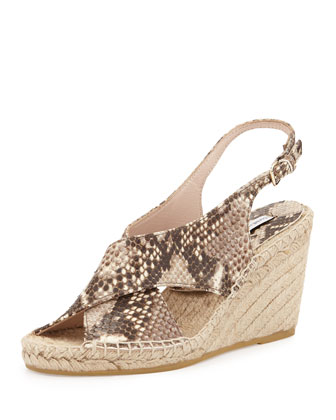 Sylvie Snake-Embossed Leather Espadrille, Beige