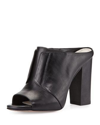 Eva High-Heel Leather Mule, Black