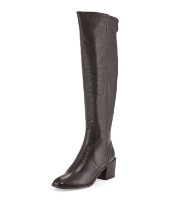 Felicia Pebbled Knee Boot, Brown