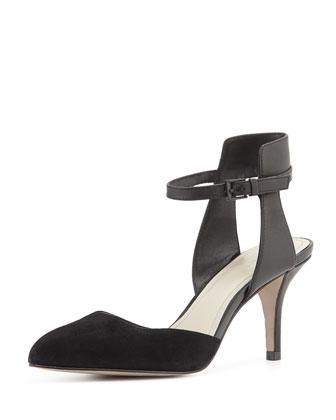 Gia Ankle-Wrap Pump, Black