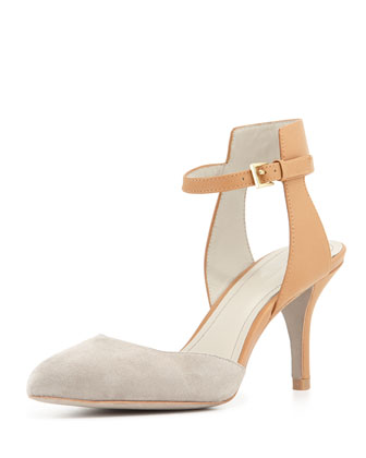 Gia Ankle-Wrap Pump, Ash