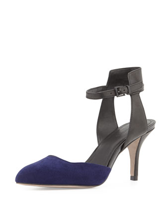 Gia Ankle-Wrap Pump, Ink