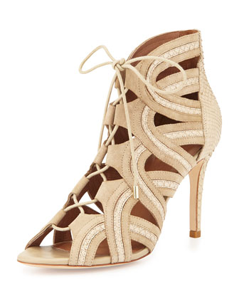Dean Lace-Up Gladiator Pump, Dusty Pink Sand