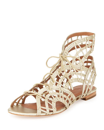 Renee Lace-Up Gladiator Sandal, White Gold