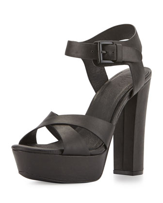 Skylar Leather Platform Sandal, Black