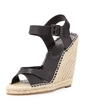 Lena Leather Espadrille Wedge, Black