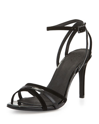 Yvette Strappy Suede & Patent Sandal, Black