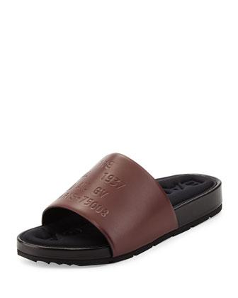 Embossed Leather Sandal Slide, Cashew
