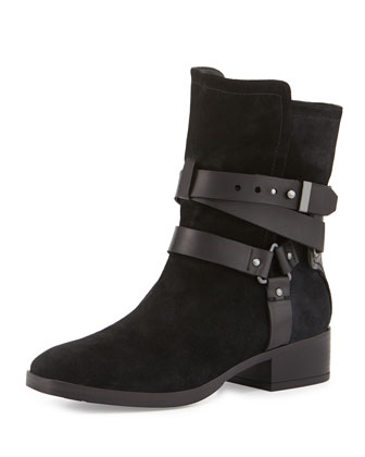 Riley Suede Moto Boot, Black