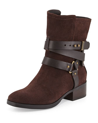 Riley Suede Moto Boot, Brown