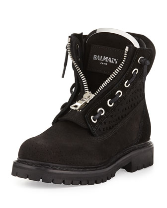 Tundra Pierced Suede Boot, Black