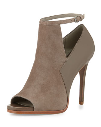 Vellin Peep-Toe Ankle-Wrap Bootie, Gray