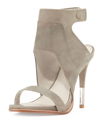 Venga Leather Ankle-Wrap Sandal, Fog