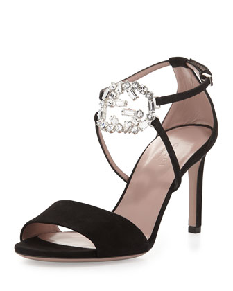 Sparkling Logo Leather Evening Sandal, Black
