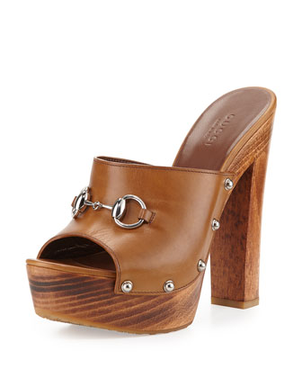 Morena Leather Clog Sandal, Cognac