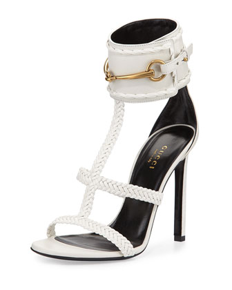 Ursula Braided Leather Sandal, White