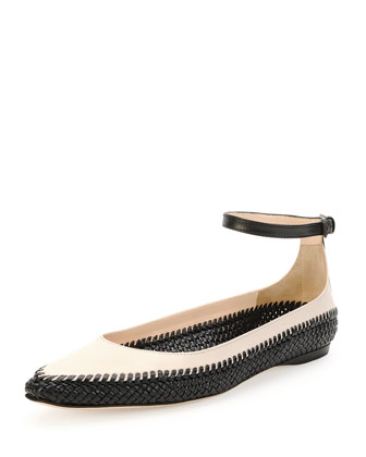 Ankle Strap Leather Flat, Prusse/Mist
