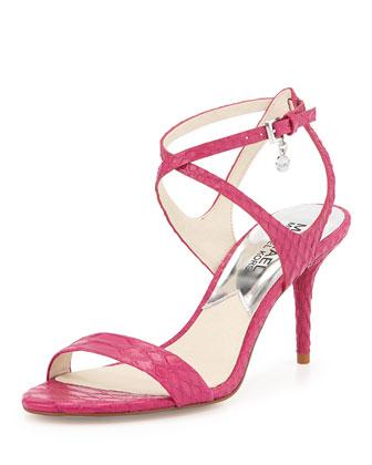 Kaylee Snake-Embossed Sandal, Fuchsia