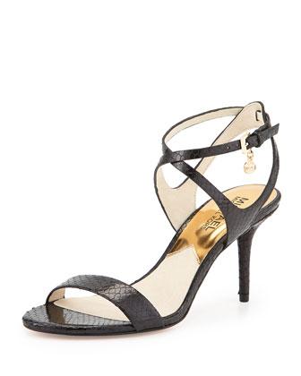 Kaylee Snake-Embossed Sandal, Black