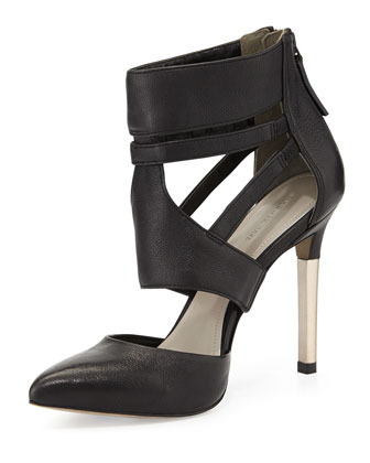 Zanie Point-Toe Cage Pump, Black