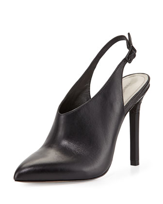 Zen Point-Toe Leather Slingback Bootie, Black