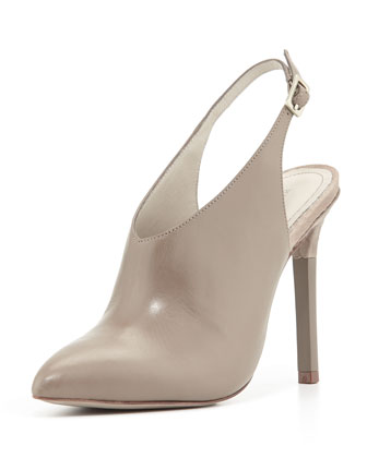 Zen Point-Toe Leather Slingback Bootie, Gray