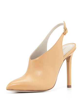 Zen Point-Toe Leather Slingback Bootie, Tan