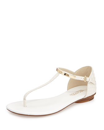 Kristen Snake-Embossed Leather Thong Sandal, Optic White