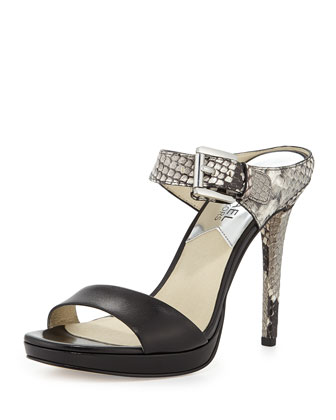 Beverly Snake-Embossed Mule Pump, Black/Natural