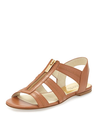Berkley T-Strap Flat Sandal, Luggage
