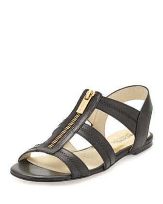 Berkley T-Strap Flat Sandal, Black