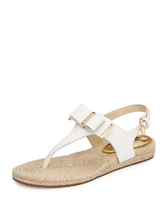 Meg Bow Detail Flat Thong Sandal, White