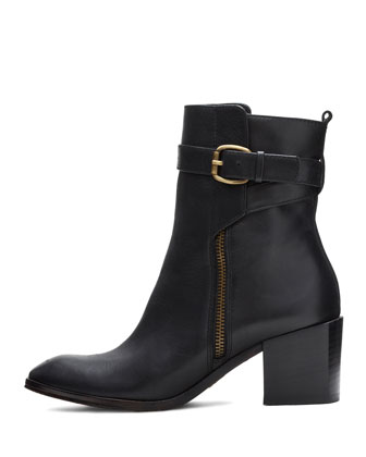 Fabian Leather Ankle Boot, Black