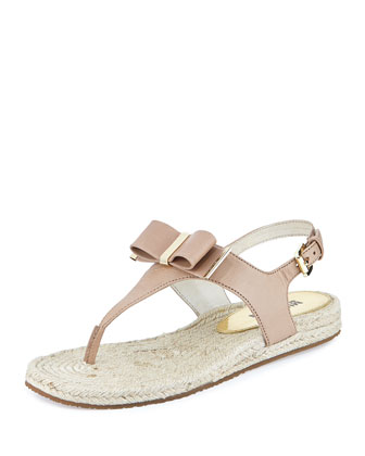 Meg Metallic Leather Bow Sandal, Dark Khaki