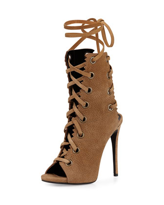 Suede Lace-Up Boot, Taupe