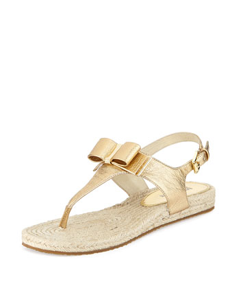 Meg Metallic Leather Bow Sandal, Pale Gold