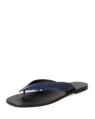 Fringe-Thong Leather Sandal, Cuir