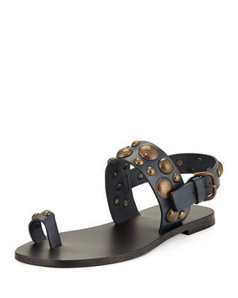 Studded Toe-Ring Flat Sandal
