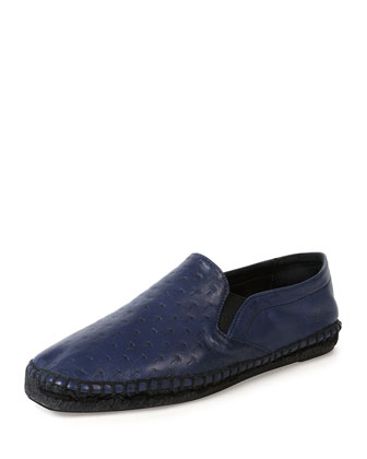 Palm-Embossed Leather Espadrille, Klein Blue