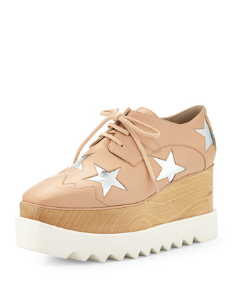 Faux-Leather Star Platform Wedge Oxford, Powder
