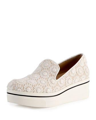 Crocheted Platform Skate Shoe, White